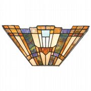 Inglenook Wall Uplighter in Valilant Bronze and Tiffany Glass - QUOIZEL QZ/INGLENOOK/WU
